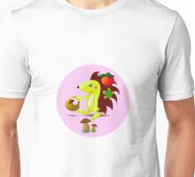 cute hedgehog collects apples and mushrooms in the forest Unisex T-Shirt