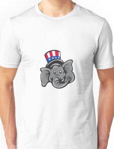 Republican Elephant Mascot Head Top Hat Cartoon Unisex T-Shirt