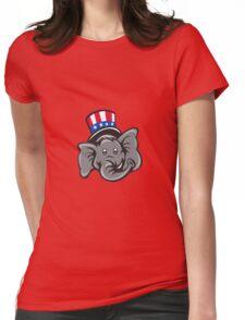 Republican Elephant Mascot Head Top Hat Cartoon Womens Fitted T-Shirt