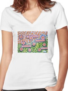 Bars and Dots on a Lawn Women's Fitted V-Neck T-Shirt