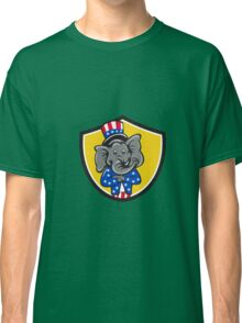 Republican Elephant Mascot Arms Crossed Shield Cartoon Classic T-Shirt