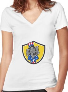 Republican Elephant Mascot Arms Crossed Shield Cartoon Women's Fitted V-Neck T-Shirt