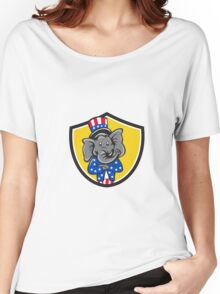 Republican Elephant Mascot Arms Crossed Shield Cartoon Women's Relaxed Fit T-Shirt