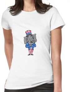 Republican Elephant Mascot Arms Crossed Standing Cartoon Womens Fitted T-Shirt