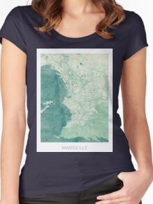 Marseille Map Blue Vintage Women's Fitted Scoop T-Shirt