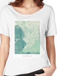Marseille Map Blue Vintage Women's Relaxed Fit T-Shirt