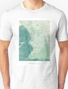 Marseille Map Blue Vintage Unisex T-Shirt