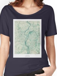 Lyon Map Blue Vintage Women's Relaxed Fit T-Shirt