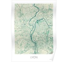 Lyon Map Blue Vintage Poster