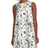 Inked Toile Wild Rose in Green A-Line Dress