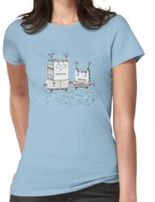 Robots at the Beach  Womens Fitted T-Shirt