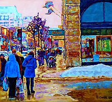PAINTING OF OGILVY'S STORE DOWNTOWN MONTREAL by Carole  Spandau