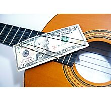 Acoustic guitar and 10 dollar note. Notes on notes. Photographic Print
