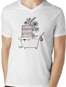 Cup of Tea Cat Mens V-Neck T-Shirt