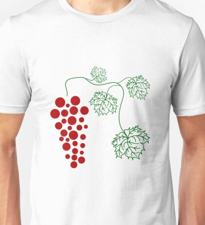 ripe grapes on a branch with large leaves Unisex T-Shirt