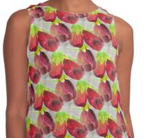 Chinese Lantern Flowers Watercolor Painting Contrast Tank