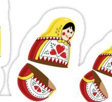 Russian Dolls chasing each other (Matryoshka) Sticker