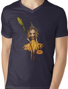 Halloween witch dressed up girl with pumpkin Mens V-Neck T-Shirt