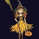 Halloween witch dressed up girl with pumpkin by Sarah Trett