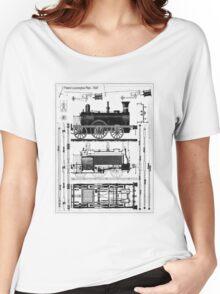 TRAIN LOCOMOTIVE; Vintage (1847) Patent Building Plan Women's Relaxed Fit T-Shirt