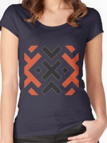 Ethnic pattern with light red and black Women's Fitted Scoop T-Shirt