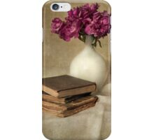Bouquet of peonies and old books iPhone Case/Skin