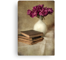 Bouquet of peonies and old books Canvas Print