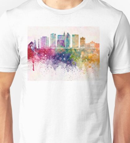 Raleigh V2 skyline in watercolor background Unisex T-Shirt