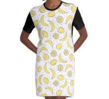 Pattern with bananas and lemons Graphic T-Shirt Dress