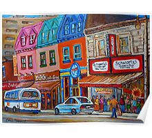 CANADIAN ART MONTREAL ART JEWISH STYLE DELI PAINTINGS MAIN STREET MONTREAL Poster