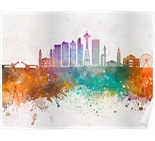 Seattle V2 skyline in watercolor background Poster