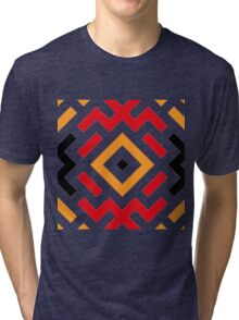 Ethnic pattern with three colours Tri-blend T-Shirt