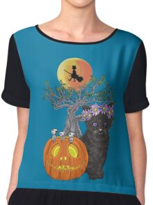 Cat Halloween Flowers Chiffon Top