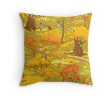 Autumn Forest Landscape Throw Pillow
