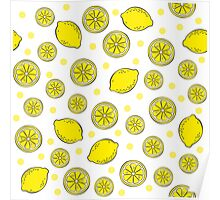 Pattern with bananas and lemons Poster