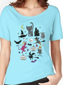 Retro Halloween - on Turquoise Women's Relaxed Fit T-Shirt