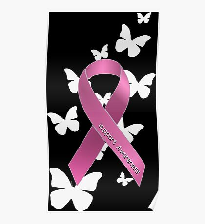 Pink Ribbon Support Breast Cancer Awareness Poster