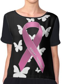 Pink Ribbon Support Breast Cancer Awareness Chiffon Top