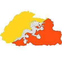 Bhutan Flag Map Photographic Print