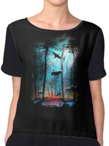 Shark In Forest Chiffon Top
