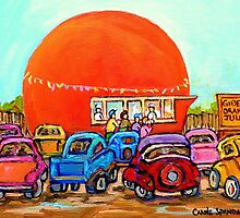 CANADIAN ART COLORFUL CANADIAN PAINTINGS POPULAR MONTREAL DRIVE-INS CAROLE SPANDAU by Carole  Spandau
