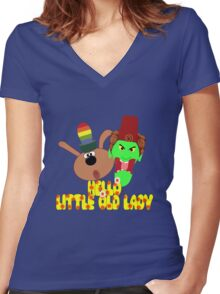 """Chorlton & Kettle Witch-""""Hello, Little Old Lady"""" Women's Fitted V-Neck T-Shirt"""