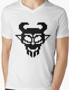 Pixel Devil - Stencil Style - Black Version Mens V-Neck T-Shirt