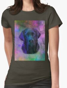 Black Labrador Dog Water Colorful Art Painting Womens Fitted T-Shirt