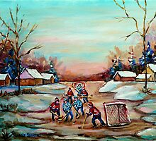 POND HOCKEY PAINTING COUNTRY SCENE by Carole  Spandau