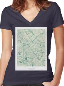 Tianjin Map Blue Vintage Women's Fitted V-Neck T-Shirt