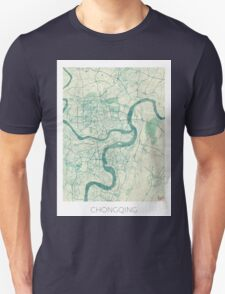 Chingqing Map Blue Vintage Unisex T-Shirt