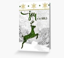 Joy to the World Reindeer Christmas Greeting Card