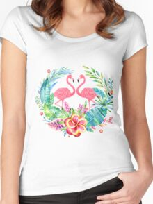 Tropical Flowers Wreath & Pink Flamingos Women's Fitted Scoop T-Shirt