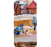 COUNTRY FROZEN POND HOCKEY PAINTINGS iPhone Case/Skin